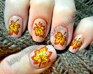 Дизайн ногтей листья
